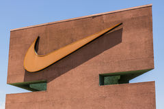 Las Vegas - Circa July 2017: Nike, Inc. Swoosh logo and signage. Nike is one of the world`s largest suppliers of athletic shoes V. Nike, Inc. Swoosh logo and Stock Photography