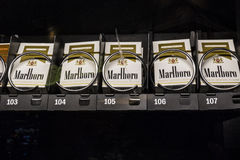Las Vegas - Circa July 2017: Packs of Marlboro Cigarettes in a vending machine. Marlboro is a product of the Altria Group II. Packs of Marlboro Cigarettes in a Royalty Free Stock Photos