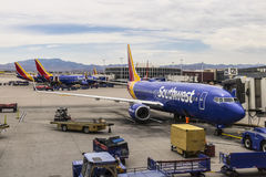 Las Vegas - Circa July 2017: Southwest Airlines Boeing 737s preparing for departure. Southwest is the largest low-cost carrier I Stock Photography