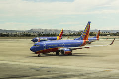 Las Vegas - Circa July 2017: Southwest Airlines Boeing 737s preparing for departure. Southwest is the largest low-cost carrier II Royalty Free Stock Image
