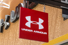 Las Vegas - Circa July 2017: Under Armour outlet shop. Under Armour manufactures a popular line of sporting equipment apparel I. Under Armour outlet shop. Under Royalty Free Stock Photo