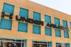 Las Vegas - Circa July 2017: Under Armour outlet shop. Under Armour manufactures a popular line of sporting equipment apparel II. Under Armour outlet shop. Under Royalty Free Stock Photos