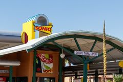 Sonic Drive-In Fast Food Location. Sonic is a Drive-In Restaurant Chain I royalty free stock photo
