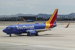 Southwest Airlines Boeing 737s preparing for departure. Southwest is the largest low-cost carrier in the world II. Las Vegas - Circa June 2019: Southwest royalty free stock photo