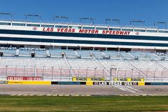 Start Finish line at Las Vegas Motor Speedway. LVMS hosts NASCAR and NHRA events including the Pennzoil 400 I. Las Vegas - Circa June 2019: Start Finish line at stock image