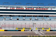 Start Finish line at Las Vegas Motor Speedway. LVMS hosts NASCAR and NHRA events including the Pennzoil 400 II. Las Vegas - Circa June 2019: Start Finish line at stock photography