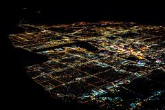 Free Las Vegas City Lights From Airplane At Night Stock Images - 132699224
