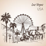 Las Vegas cityscape sketch wirh ferris wheel. Royalty Free Stock Photo