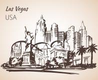 Las Vegas cityscepe sketch. On white background Stock Photography