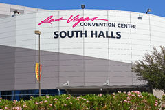 Las Vegas convention center. Convention center building in Las Vegas, showing Las Vegas Convention Center South Halls sign Royalty Free Stock Photography