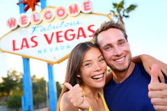 Las vegas couple happy at sign Stock Images