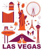 Las Vegas culture travel set. Famous architectures and specialties in flat design. Business travel and tourism concept clipart. Image for presentation, banner stock illustration