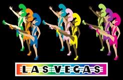 Las Vegas Dancers. Las Vegas Showgirl Dancers performing with high kicks. Used tiltawhirl font stock illustration