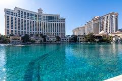 Las Vegas, de V.S. - 27 April, 2018: Het beroemde Belagio-meer en hote royalty-vrije stock afbeeldingen