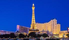 LAS VEGAS, DE V.S. - 21 APRIL, 2014: nacht panoramische foto van de Pa Royalty-vrije Stock Afbeelding