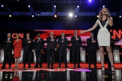 LAS VEGAS - DECEMBER 15: Ayla Brown sings national anthem at Republican as presidential candidates hold hand over heart at preside Stock Photo