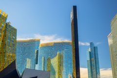 Las Vegas Downtown, Aria Resort and Casino and Mandarin Oriental Residences royalty free stock image