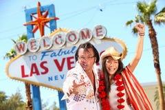 Las Vegas Elvis impersonator som har gyckel Arkivbilder