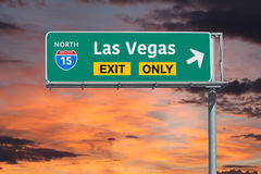 Las Vegas Exit Only Highway Sign with Sunrise Sky Royalty Free Stock Images