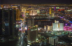 Las Vegas. The famous Vegas Strip in a noturne view from the top of  Stratosphere Tower. Las Vegas, Nevada, USA Royalty Free Stock Photo