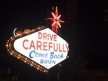 Las Vegas farewell sign by night, Las Vegas, Nevada Stock Image