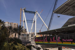 The High Roller, Linq project in Las Vegas, NV on February 22, 2. LAS VEGAS - FEBRUARY 22, 2013 - The Las Vegas tram passes the High Roller construction project Royalty Free Stock Photography