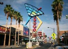 Las Vegas Fremont Street and Neon. Historic Las Vegas neon signs are shown along Fremont Street East Stock Photo