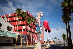 Las Vegas Fremont Street and Neon. Historic Las Vegas neon signs are shown along Fremont Street East Stock Image