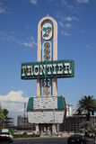 Las Vegas - Frontier Hotel. Old Sign from demolished Frontier Hotel on the Las Vegas Strip Stock Photo