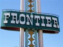 Las Vegas Frontier Hotel Sign. Closeup Image of the Frontier Hotel sign on the Vegas strip in Las Vegas, Nevada Stock Image