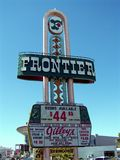 Las Vegas Frontier Hotel Sign Full. Full image of the Frontier Hotel sign on the Vegas strip in Las Vegas, Nevada Stock Photos