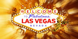Las Vegas Game and Fun. Conceptual Banner Illustration with Vegas Strip Sign and Elements of Casino Games 3D Rendered Graphic Stock Images