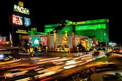 Las Vegas huvudsaklig gata på natten Royaltyfri Fotografi