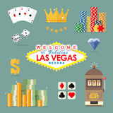 Las vegas icon set royalty free illustration