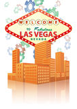 Las vegas. Illustration of las vegas sign with urban city Royalty Free Stock Image