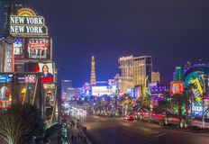 Las Vegas. JAN 24 : View of the strip on January 24, 2013 in . The  Strip is an approximately 4.2-mile (6.8 km) stretch of  Boulevard in Clark County, Nevada Royalty Free Stock Photos