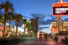 LAS VEGAS, JANUARY 31: Las Vegas Strip at sunset on January 31,. 2014 in Las Vegas. It has approximately 4.2-mile (6.8 km) stretch of Las Vegas Boulevard South royalty free stock images