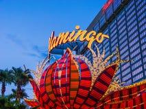 Hôtel de flamant et endroit de jeu sur la bande de Las Vegas Image stock