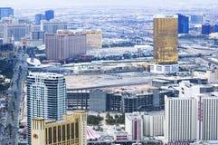 Las Vegas kasyn i hoteli/lów odgórnego widoku miasta krajobraz podczas clou Obrazy Stock