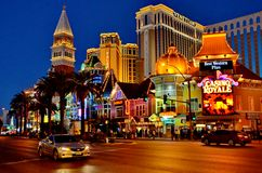 Las Vegas Lights. Night View of Las Vegas Strip near Venetian stock photo