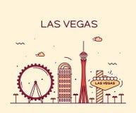 Las Vegas linii horyzontu wektorowy ilustracyjny liniowy Obrazy Stock