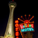Las Vegas lodging. Las Vegas, USA - October 6, 2014: Small and large hotel at Las Vegas Boulevard by night. Six of the world's ten largest hotels are situated on royalty free stock image