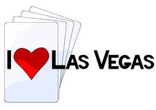 Las vegas logo one. Playing cards and las vegas logo on white background Royalty Free Stock Photography