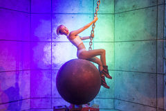 Las Vegas , Madame Tussauds. LAS VEGAS - OCT 23 : A waxwork of Miley Cyrus at The Madame Tussauds museum in Las Vegas on October 23 2015 , The two-floor 30,000 royalty free stock images