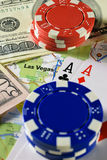 Las Vegas on map with money, poker chips and pair of aces playing cards Stock Photography