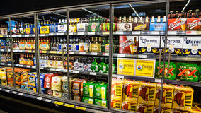 Beer Cooler. LAS VEGAS - MARCH 25: Grocery stores stock up on cold beer as March Madness and Cinco de Mayo spur hot weather demand in Las Vegas on March 25, 2013