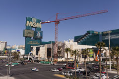 The MGM sign, in Las Vegas, NV on March 05, 2013. LAS VEGAS - MARCH 5, 2013 - The MGM sign on March 5, 2013  in Las Vegas. The face lift of the MGM entrance is Stock Photos