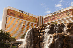 The Mirage Hotel in Las Vegas, NV on March 30, 2013. LAS VEGAS - MARCH 30, 2013 - The Mirage volcano and hotel on MARCH 30, 2013  in Las Vegas. The gold windows Stock Photo