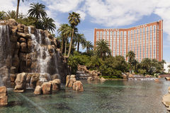 The Mirage volcano and Treasure Island, Las Vegas, NV on March 3 Stock Photos