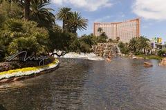 Faccia tesoro l'isola come veduto dal miraggio, Las Vegas, NV su marzo Immagine Stock